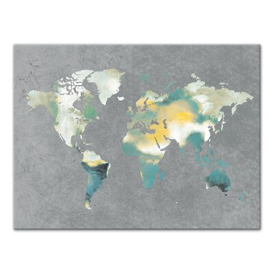 'World Map' Rectangle Watercolor Painting Print on Canvas Format: Wrapped Canvas, Size: 30