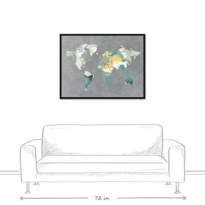 'World Map' Rectangle Watercolor Painting Print on Canvas Format: Black Framed, Size: 31.75