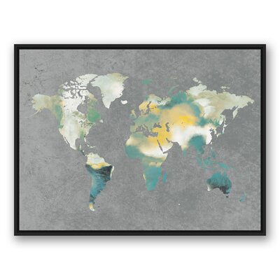 'World Map' Rectangle Watercolor Painting Print on Canvas Size: 31.75
