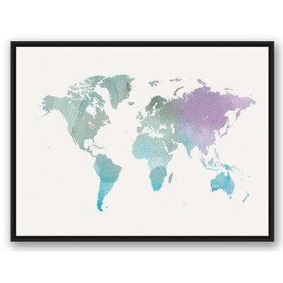'World Map' Watercolor Painting Print on Canvas Format: Black Framed, Size: 31.75