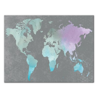 'World Map' Watercolor Painting Print on Wrapped Canvas Format: Wrapped Canvas, Size: 12