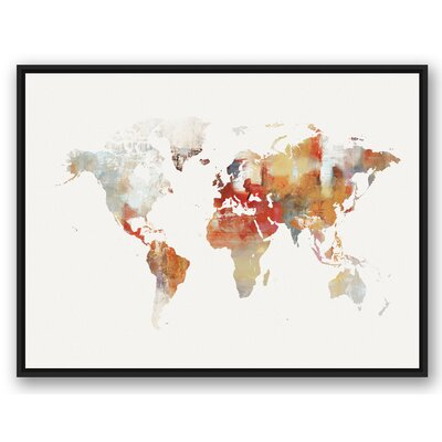 'World Map' Watercolor Painting Print on Wrapped Canvas Format: Black Framed, Size: 31.75