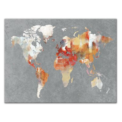 'World Map' Horizontal Watercolor Painting Print on Canvas Format: Wrapped Canvas, Size: 12