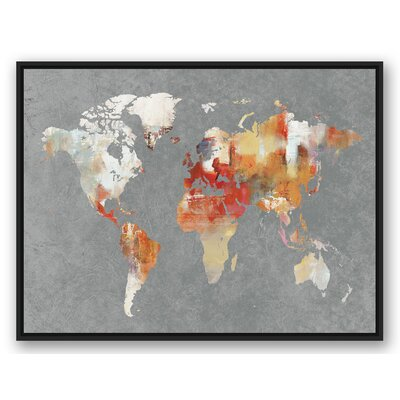 'World Map' Horizontal Watercolor Painting Print on Canvas Format: Black Framed, Size: 31.75