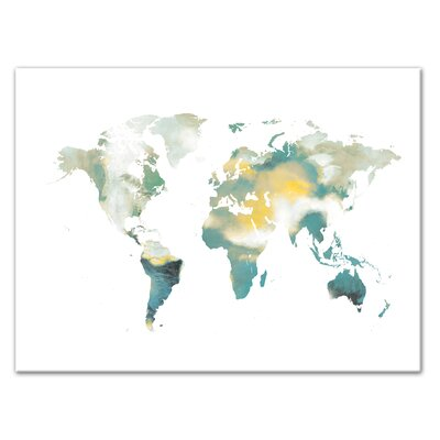 'World Map' Watercolor Painting Print on Canvas Format: Wrapped Canvas, Size: 12