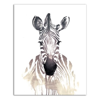 'Zebra' Watercolor Painting Print on Canvas Format: Wrapped Canvas, Size: 10