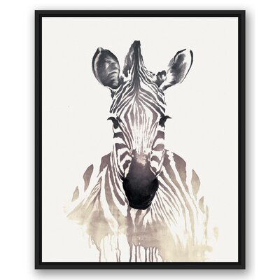 'Zebra' Watercolor Painting Print on Canvas Format: Black Framed, Size: 31.75