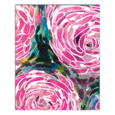 Painterly Pink Flower Acrylic Painting Print on Canvas Format: Wrapped Canvas, Size: 10