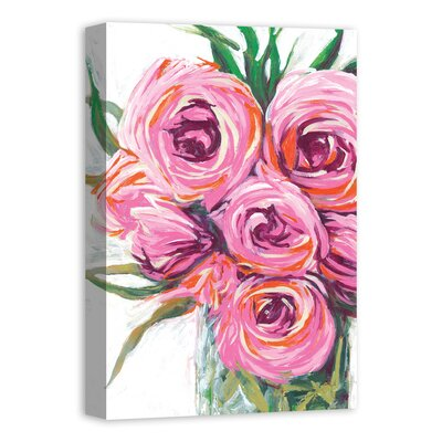 'Vase with Bright Flowers' Acrylic Painting Print on Canvas