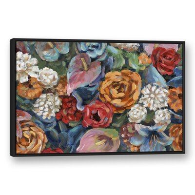 'Floral Fiesta' Acrylic Painting Print on Canvas Format: Black Framed, Size: 32