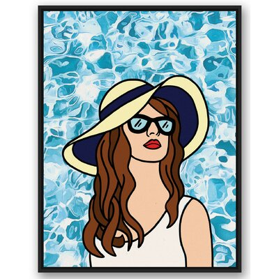 'Woman at the Pool Black' Graphic Art Print Size: 40