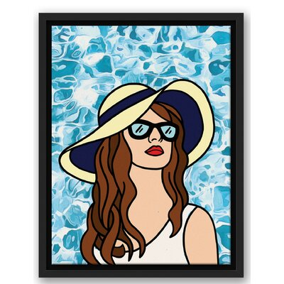 'Woman at the Pool Black' Graphic Art Print Size: 16