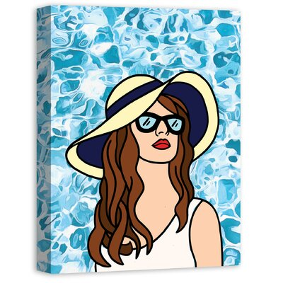 'Woman at the Pool Black' Graphic Art Print Size: 24
