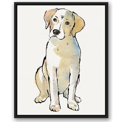 'Yellow Labrador Dog Black' Graphic Art Print Size: 30