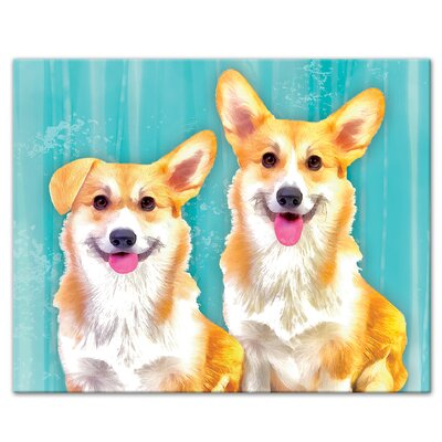 'Corgi Dog Pals Black' Graphic Art Print Size: 8