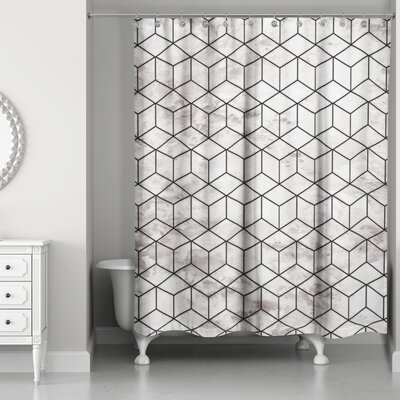 Bellamira Marble Geometric Cube Shower Curtain