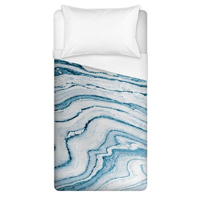 Palladium Marble Duvet Cover Size: Twin