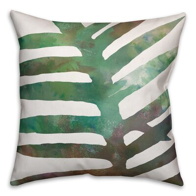 Palm Cove Watercolor Fern Throw Pillow Size: 16 x 16