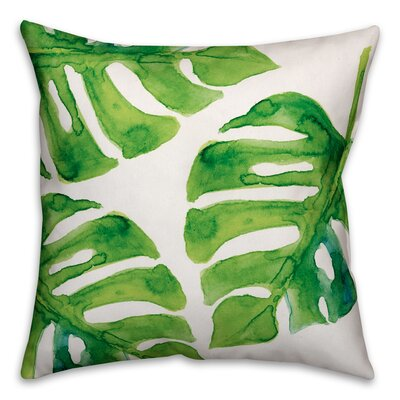 Palm Cove  Watercolor Palm Leaf Throw Pillow Size: 16 x 16