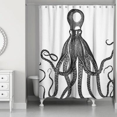 Hann Vintage Octopus Shower Curtain Color: Black