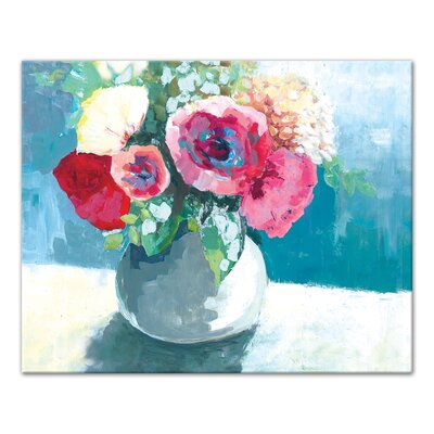 'Blue and Pink Flowers' Acrylic Painting Print on Canvas Format: Wrapped Canvas, Size: 16