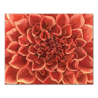'Red Gardenia Close Up Flower' Acrylic Painting Print on Canvas Format: Wrapped Canvas, Size: 16