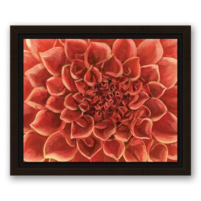 'Red Gardenia Close Up Flower' Acrylic Painting Print on Canvas Format: Framed, Size: 8