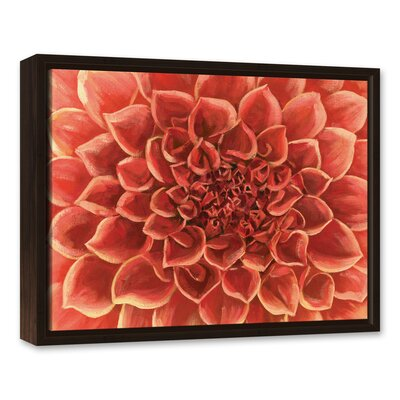 'Red Gardenia Close Up Flower' Acrylic Painting Print on Canvas Size: 16