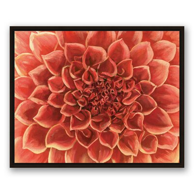 'Red Gardenia Close Up Flower' Acrylic Painting Print on Canvas Format: Framed, Size: 24