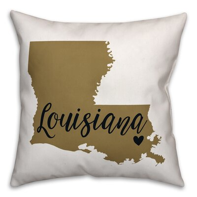 Louisiana Pride Throw Pillow Color: Tan/Black