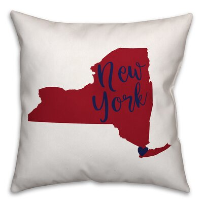 New York Pride Square Throw Pillow Color: Red/Blue