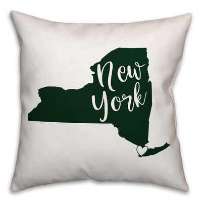 New York Pride Square Throw Pillow Color: Green/White