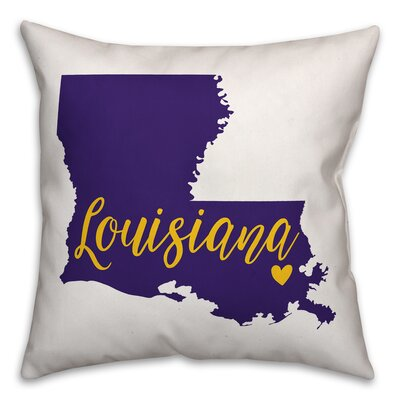 Louisiana Pride Throw Pillow Color: Purple/Yellow