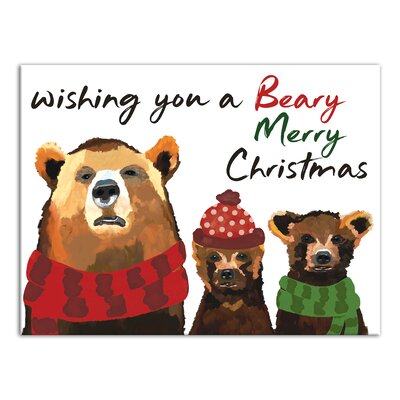 'Beary Merry Christmas' Graphic Art Print on Wrapped Canvas