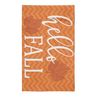 Shotwell Hello Fall Chevron White/Bright Orange Area Rug