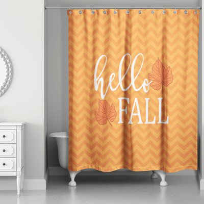 Hello Fall Chevron Shower Curtain