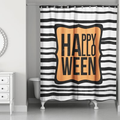 Happy Halloween Stripes Shower Curtain