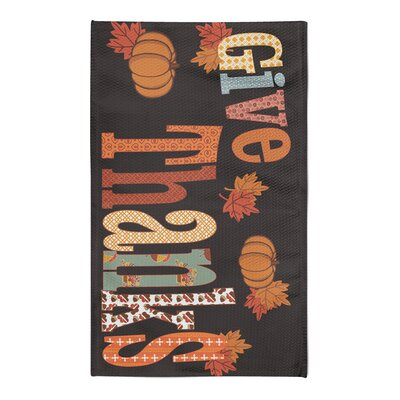 Give Thanks Black/Orange Area Rug