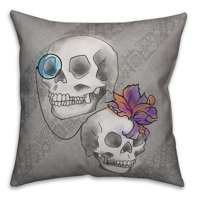Skull Double-Sided Print Throw Pillow Pillow Use: Outdoor