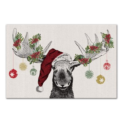 'Christmas Moose' Graphic Art Print on Canvas