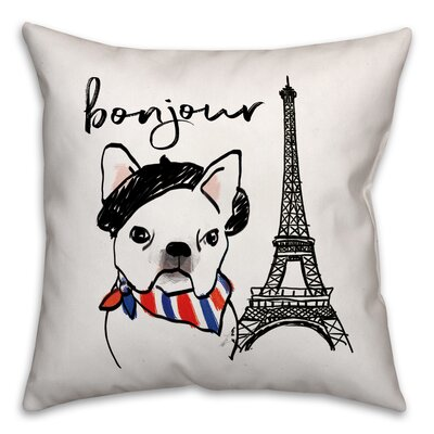 Bonjour Frenchie Dog Throw Pillow in , Cover Only Size: 16 x 16