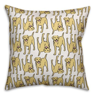 All The Labs Throw Pillow in , Cover Only Color: Yellow, Size: 16 x 16