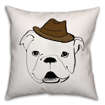 Dog with Hat Throw Pillow in , Cover Only Size: 16 x 16