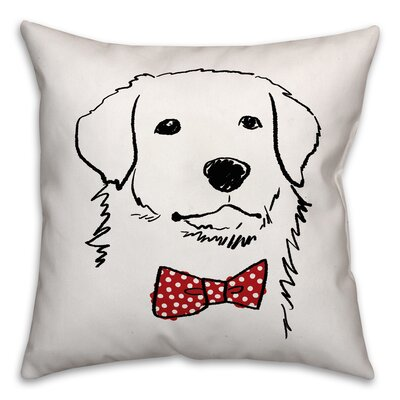 Dog with Polka Dot Bow Tie Pillow Cover Size: 18 x 18