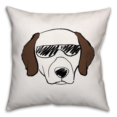 Dog with Sunglasses Throw Pillow in , Throw Pillow Size: 16 x 16