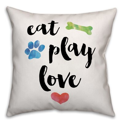 Eat Play Love Throw Pillow in , Cover Only Size: 16 x 16