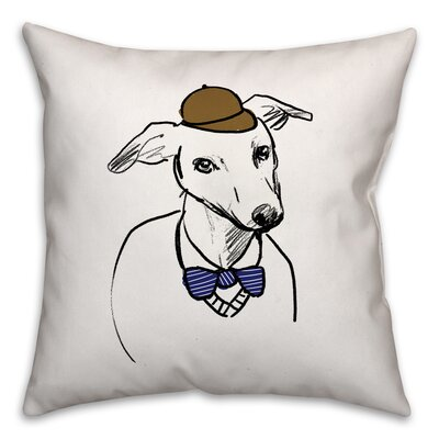 Grayhound with Hat and Bowtie Throw Pillow in , Cover Only Size: 18 x 18