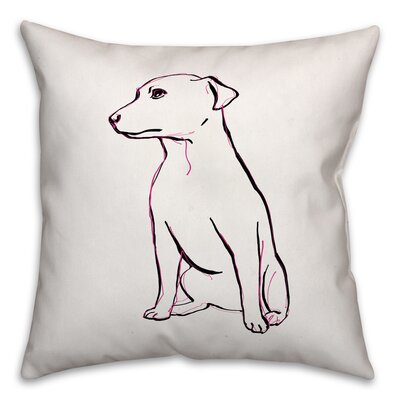 Sitting Pink Pup Throw Pillow in , Throw Pillow Size: 18 x 18