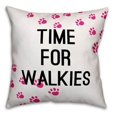 Sharpe Time for Walkies Throw Pillow in , Cover Only Size: 18 x 18