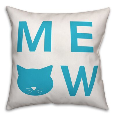 Meow Throw Pillow in , Cover Only Size: 16 x 16